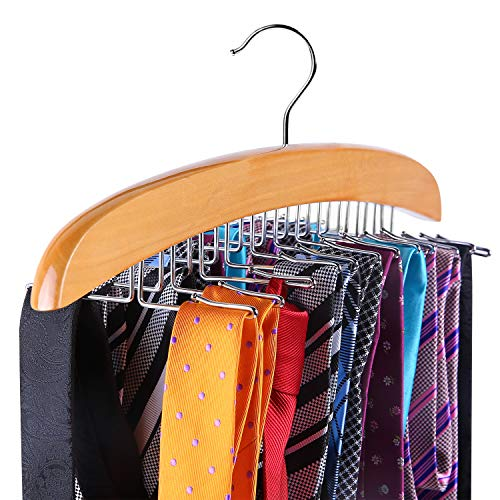 Ohuhu Tie Rack, Wooden Tie Organizer, 24 Tie Hanger Hook Storage Rack, Closet Accessory Organizer, Twirl Neck Tie Rack Holder Hook