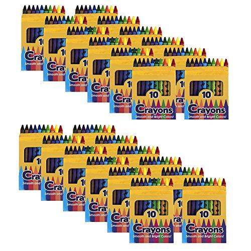 96 Pack Crayons in Bulk for Kids, Classroom - Wholesale Bright Wax Coloring Crayons in Bulk, 10 Per Box Bundle Art Set