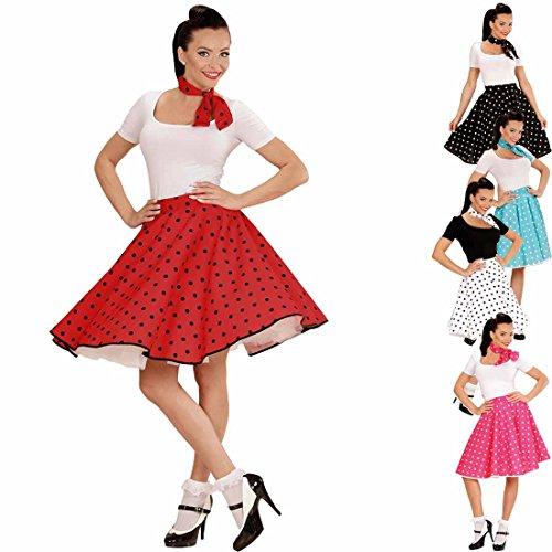Amakando Petticoat Rock mit Halstuch 60er Jahre Rockabilly rot-schwarz Tellerock mit Polka Dots Gepunktetes Swing Outfit Rock'n'Roll Party Mottoparty Kostüm
