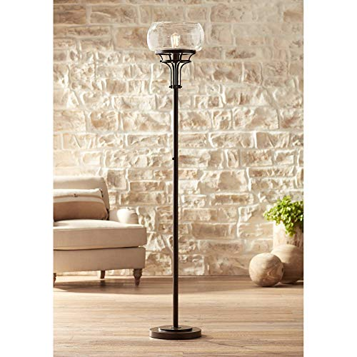 Luz Modern Industrial Edison Bulb Floor Lamp Torchiere Oil Rubbed Bronze Clear Glass Standing Bright Lighting for Living Room Reading House Bedroom Home Office Uplight Decor - Franklin Iron Works