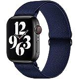 GBPOOT Correa de Compatible con Apple Watch 38mm 40mm 42mm 44mm,Correa Solo Loop Deportiva con Nylon de Repuesto Compatible Iwatch Serie 6/SE/5/4/3/2/1,Azul medianoche,42/44mm