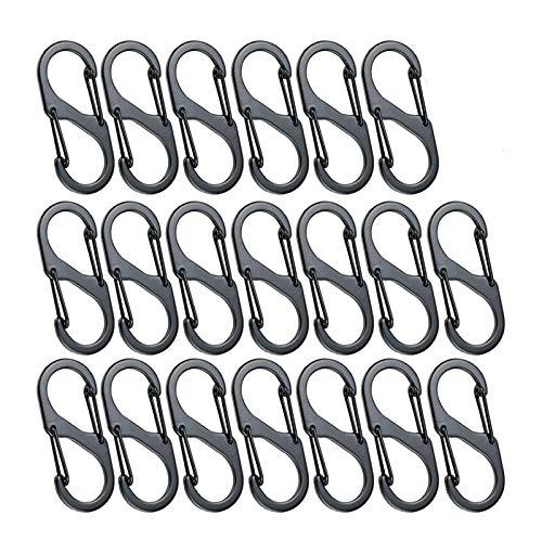 Ziyero 20 STK S Karabiner Schlüsselanhänger Set 8 Form Aluminiumlegierung Karabiner Klein Metall Doppelkarabiner Wasserdicht, für Zuhause, Wanderungen Freien, Angeln, Camping, Reisen usw—Schwarz