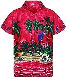 V.H.O. Funky Camisa Hawaiana, Parrot, Rosa, XL