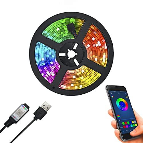 JEZZ Tira de Luces LED Control USB 1M 2M 300cm Cinta de lámpara Flexible Diodo TV Iluminación de Fondo Luces LED (Color : Bluetooth Control, Size : 100cm)