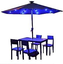 PARASOL LZMZ Aluminum Terrace Table and Chairs Umbrella Solar LED Light with Crank Handle Courtyard Umbrella 3 m Large Leisure Roman Umbrella Outdoor Garden, Patio, Park