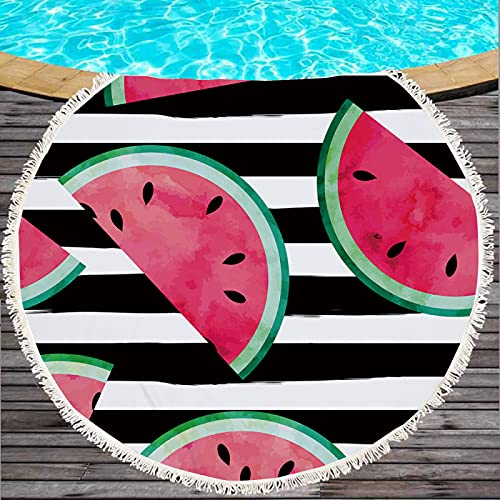 Toalla De Playa Redonda De La Serie Watermelon con Impresión Digital 3D, Tapete De Playa Absorbente De Secado Rápido, Manta De Playa De Microfibra con Borlas 150 * 150cm