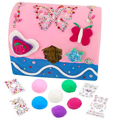HOWAF Schmuckschatulle für Mädchen, Kreatives Bastelset Klein Schmuck Holzkiste mit Deckel, 6 Farben Modelliermasse, Modellierwerkzeugen und 4 Blatt Strasssteine Aufkleber, Geschenk für Mädchen