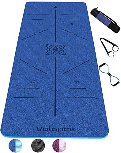 Colchoneta de yoga, colchoneta de gimnasio hecha de materiales de TPE reciclable con una línea de postura corporal antideslizante 183 x 61 x 0,6 cm, con cuerda deportiva, bolsa de mano, bolsa de malla