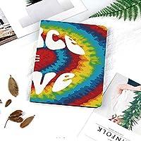 色彩的iPad Air151 ケース 超薄型 超軽量 TPU 対応 キズ防止 指紋防止 [オート スリープ/スリー プ解除]平和と愛Groovyネクタイ染料ハート型抽象ヒッピー虹装飾