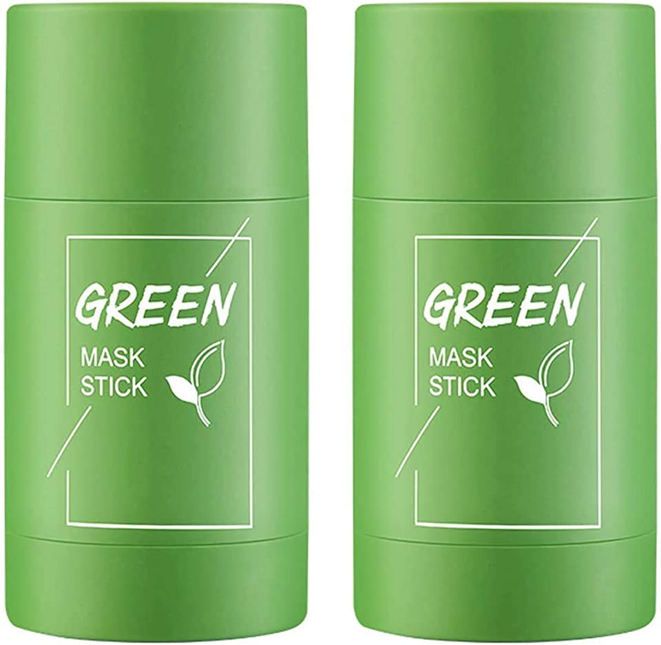 2 Pcs Green Tea Purifying Clay Stick Mask - Green Tea Cleansing Mask for Moisturizes Improves Skin, Deep Clean Pore,Oil Control, for All Skin Types Men Women (green)