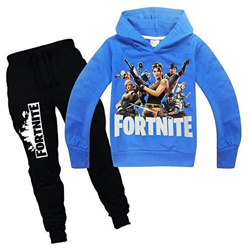 zhaojiexiaodian Ragazzi Unisex 3D Print Pullover Bambini Jogging Felpe Felpa Tuta Abbigliamento Sportivo Outwear Maglione Hip Hop Streetwear Top con Cappuccio(Blu, 160)