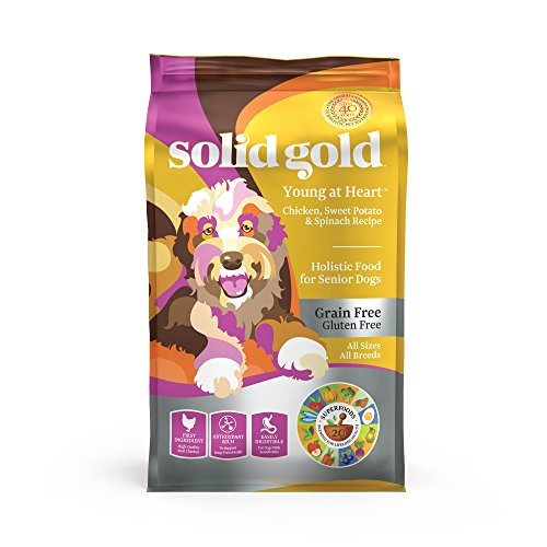 Solid Gold - Young at Heart with Real Chicken - Grain-Free - Antioxidant Rich - Dry Dog Food Seniors with Sensitive Stomachs 4lbs