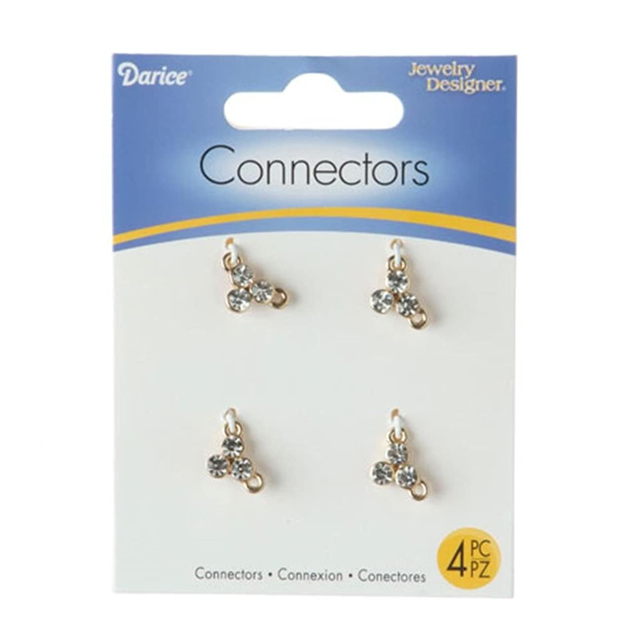 Darice 1999-5823 Jewelry Connectors-Gold Rhinestone Cluster