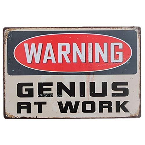 Cartel de metal vintage estilo retro para decoración del hogar o la cocina Warning Genius at Work