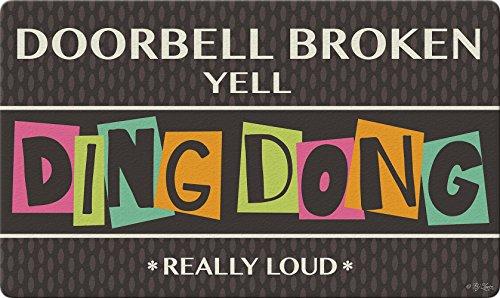 Toland Home Garden 800433 Ding Dong Doorbell Doormat, 18' x 30', Multicolor