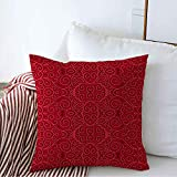 Decorative Throw Pillow Cover Red Filigree Ornamental Lace Abstract Pattern Flourish Mayan Traditional Antique Needlework Arab Cozy Square Cushion Covers 16 x 16 Inches for Bench Bedding Car