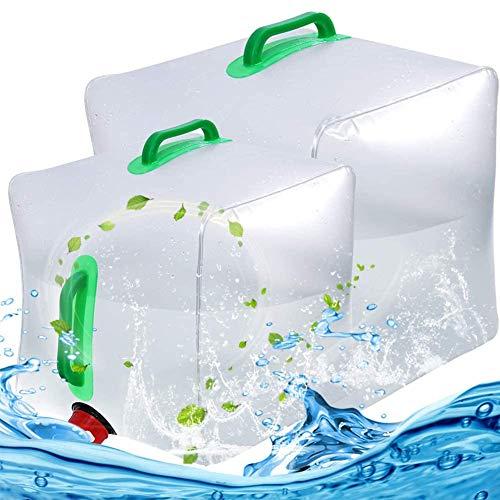 BESTZY Bidón de Agua Plegable Depósito de Agua Contenedores de Agua, Plegable y Flexible envases para Uso en Exteriores barbacoas acampadas Senderismo Escalada (10L+20L)