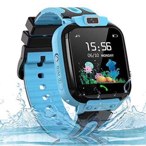 Kids Smart Watch, SOS IP67 Waterproof Phone Smartwatch HD Touch Screen Digital Wrist Watch GPS Tracker for Boys Girls Birthday Gift(Blue)
