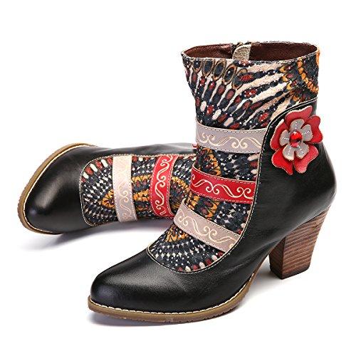 gracosy Damen Stiefeletten Bunt, Schuhe Damen Herbst Leder Stiefel Bedruckt Retro Handgemachtes...