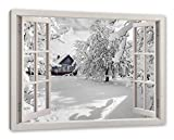 Pixxprint Hütte in schöner Winterlandschaft, Fenster