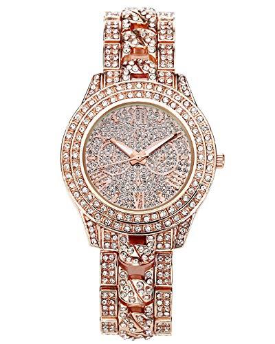 JSDDE Uhren, Luxus Elegant Damen Armbanduhr mit Strass Glitzer Dial Damenuhr Metall-Band Ladies Dress Analog Quarzuhr (Rosegold)