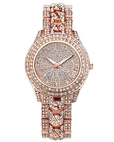 JSDDE Uhren, Luxus Elegant Damen Armbanduhr mit Strass Glitzer Dial Damenuhr Metall-Band Ladies Dress Analog Quarzuhr (Rosegold)
