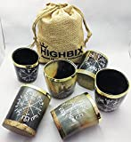 HIGHBIX Royal Viking Drinking Horn Shot Glass Cup Set of 6 Genuine Handcrafted Viking Horn Cup Original Medieval Cup with Classic Jute Bag