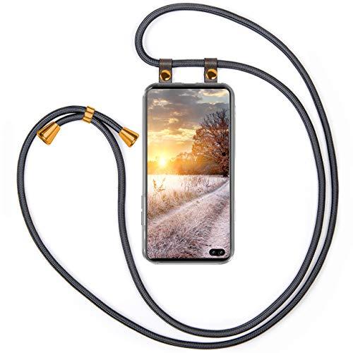 moex Handykette kompatibel mit Samsung Galaxy S10 Plus Hülle mit Band Längenverstellbar, Handyhülle zum Umhängen, Silikon Hülle Transparent mit Kordel Schnur abnehmbar in Anthrazit