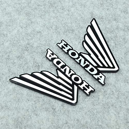 Etiqueta engomada del Tanque ala Moto Moto Insignia Emblema de la Suciedad Parte Pit Bike de Metal Scooter de Decoraciones de Motocross calcomanía Etiqueta for Honda Logo Motocicleta (Color : Black)