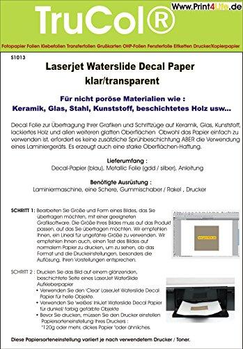 5 Blatt Wasserschiebefolie Decal Papier Transfer Folie DIN A4 transparent für Laserdrucker Kopierer klare Folie wasserabschiebefolie Transferfolie Transferpapier