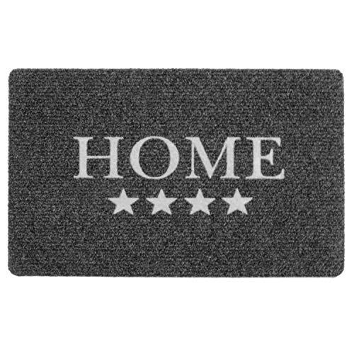 Area1 Fußmatte/Fussmatte / Fussabtreter/Türmatte / Schmutzfangmatte Trampmat Home Star Stern grau - weiß rutschhemmend (40x60 cm)