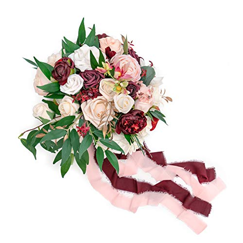 Ling's moment 11 Inch Marsala Artificial Flowers Wedding Bouquets for Bride - Bridal Bouquet for Wedding Ceremony Anniversary, Bridal Shower, Party and French Rustic Vintage Wedding