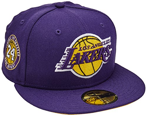 New Era 59Fifty NBA Hat Ball Los Angeles Lakers Kobe Bryant Legends are Forever Dark Purple Fitted Cap (7 1/2-7.5) image