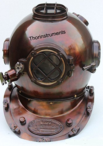 Vintage Diving Divers Helmet Solid Iron & Brass 18' Antique US Navy Diving Divers Helmet