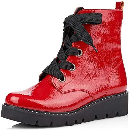 Remonte Damen Stiefel, Frauen Schnürstiefel, Boots Combat schnürung Freizeit leger,Rot(Flamme),40 EU / 6.5 UK