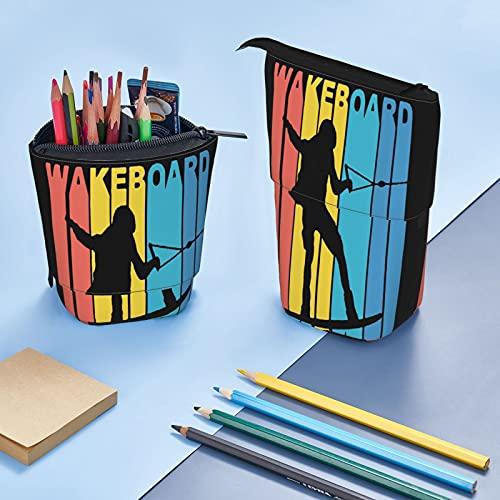 Wakeboard^ Bolsa de lápices de gran capacidad para oficina, papelería, cosméticos, bolsa de cosméticos adecuada para estudiantes adultos unisex organizador de almacenamiento regalo