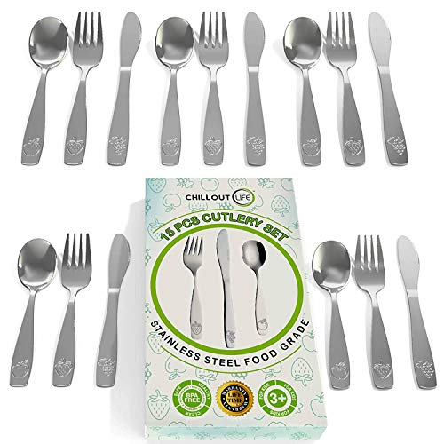 15 Piece Stainless Steel Kids Silverware Set - Child and Toddler Safe Flatware - Kids Utensil Set - Metal Kids Cutlery Set Includes 5 Small Kids Spoons, 5 Forks & 5 Knives