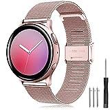 Yaspark Correa Huawei Watch GT2 42mm/Galaxy Watch 3 41mm/Galaxy Watch Active/Active2 40mm 44mm Banda Acero Inoxidable 20mm Pulsera para Huawei Watch 2 Sport/Gear Sport/Vivoactive 3/Forerunner 645/245
