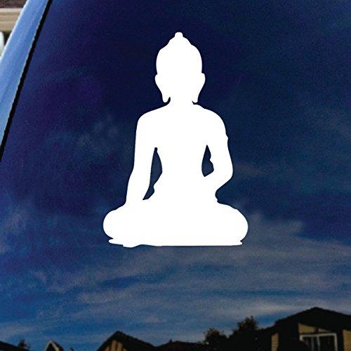 SoCoolDesign Namaste Tibet Buddha Car Window Vinyl Decal Sticker 7' Wide (White)