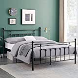 VECELO Queen Size Bed Frame Metal Platform Mattress Foundation with Headboard & Footboard/Easy Assemble, Black