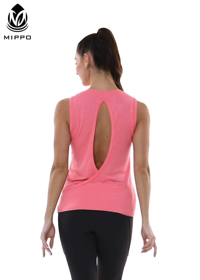 Mippo Workout Tops for Women Open Back Muscle Tank Yoga Tennis Running Shirt Workout Clothes