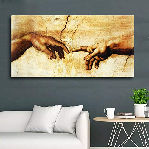 YHZSML Cuadro en Lienzo ¡Creación de Adán! ¡Mano de Dios! Imágenes de Pared de religión clásica para Sala de Estar Famosos Carteles de impresión de Arte 70X140CM
