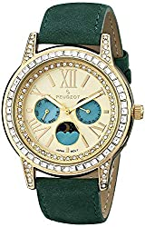 Crystal Bezel Dress Watch with Green Suede Strap