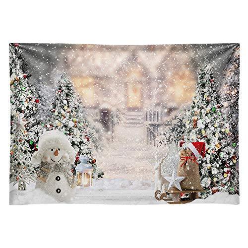 Allenjoy 20 x 152 cm jul vinter snögubbe bakgrund för fotografi julgran snö hållbart tyg snöflinga bakgrund vit dekoration banderoll för baby shower födelsedag foto monter studio rekvisita