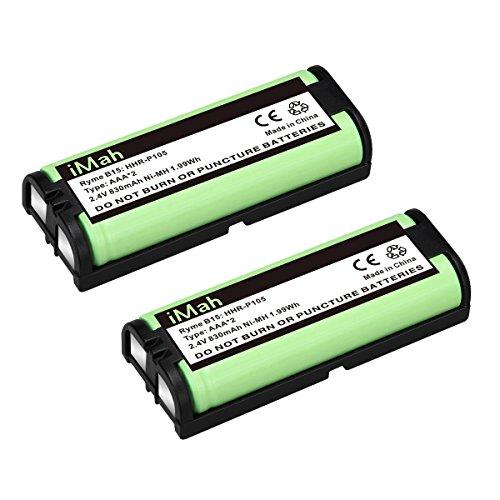 2-Pack iMah HHR-P105 Phone Battery Compatible with Panasonic HHR-P105A KX-TG5777 KX-TGA242 KX-TGA571 (Type 31) Home Handset Cordless Telephone