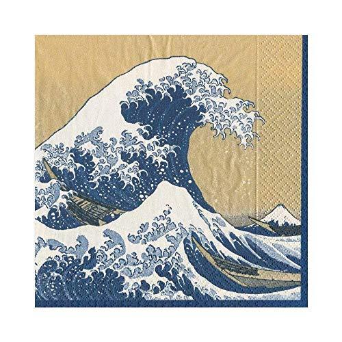 ペーパーナプキン Lサイズ(33×33cm・3枚重ね) 20枚入り 葛飾北斎 神奈川沖浪裏(かながわおきなみうら) GOLD