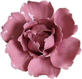 VOSAREA Ceramic Flower Wall Ornament Hanging 3D Ceramic Flower Decoration Artificial Flower Wall Art for Living Room Bedro...
