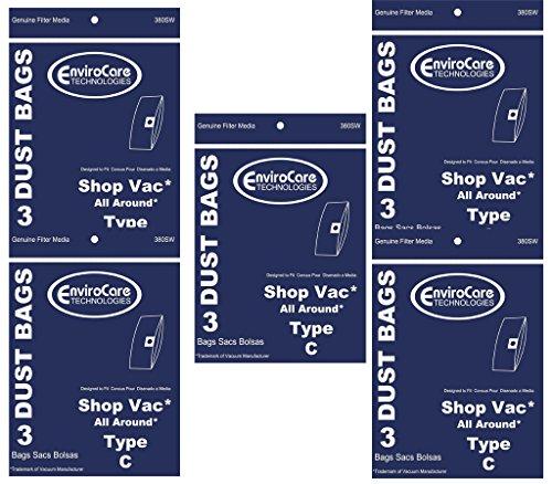 ShopVac 15 Tipo C # 9066900húmedo/seco al vacío Bolsas Shop Vac