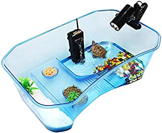 Turtle Tank Aquarium,Reptile Tank,Turtle Aquarium Terrapin Lake with Platform Plants Tank for Pet Turtle Reptile Habitat Blue