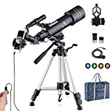 Upgraded Telescope HD 400/70mm Telescope for Kids Adults Refractor Astronomy Telescope - Watching